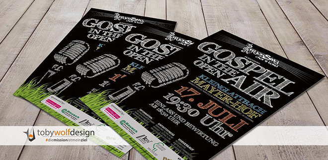 "Plakate für ""Gospel in the Open Air"" von rejoySing chor&band aus Vaihingen/Enz"
